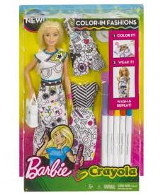 Barbie Crayola: Szőke hajú Barbie ruhaszínező készlettel FPH90