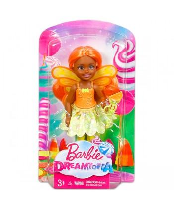 Barbie Dreamtopia: Narancssárga felsős, barna Tündér Chelsea baba DVM87