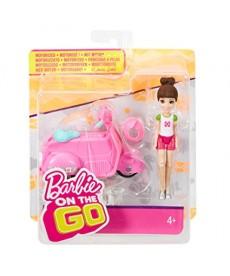 Barbie On The Go baba járművel - rózsaszín robogóval FHV76