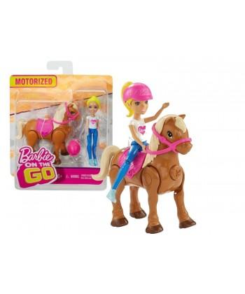Barbie On The Go - Szőke hajú lovagló baba barna pónival FHV60
