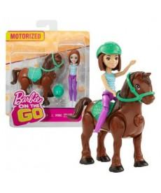 Barbie On The Go - Barna hajú lovagló baba sötétbarna pónival FHV60
