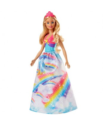 Barbie Dreamtopia Szőke hercegnő baba szivárványos ruhában FJC94