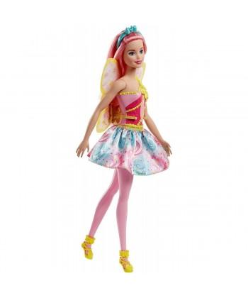 Barbie Dreamtopia: Rózsaszínű hajú tündér baba FJC84