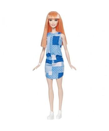 Barbie Fashionista barátnők - vörös hajú kék ruhában DYY90
