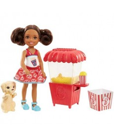 Barbie: Barna bőrű Chelsea popcorn géppel és kiskutyával FHP66