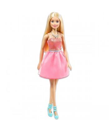 Barbie: Parti Barbie - szőke baba csillogó rózsaszín ruhában T7580