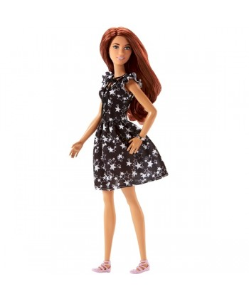 Barbie Fashionistas: vörös hajú baba, csillagos ruhában FBR37