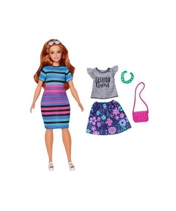 Barbie Fashionistas: barna hajú molett baba, csíkos ruhában FJF67
