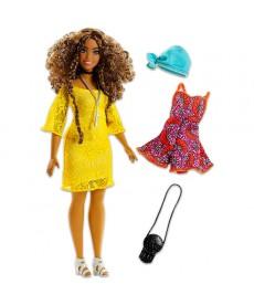 Barbie Fashionistas: Barna göndör hajú molett Barbie FJF67