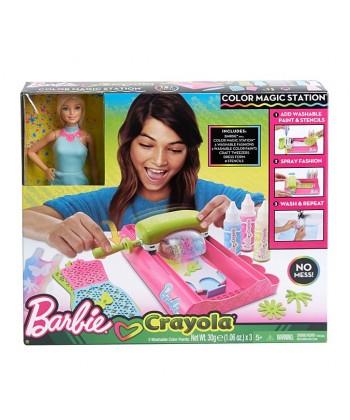 Barbie Crayola: Színvarázs - Ruhafestő állomás babával FPW10