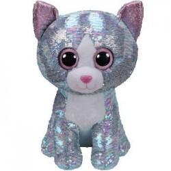 TY Inc Boos Flippables - Whimsy flitteres kék macska plüss figura 42 cm TY36762