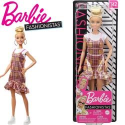 Barbie Fashionistas: Szőke Barbie csillogó kockás ruhában FBR37
