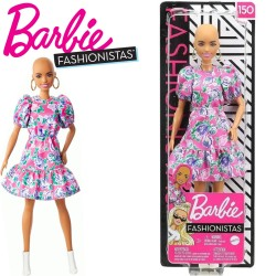 Barbie Fashionistas: Kopasz Barbie virágos ruhában FBR37