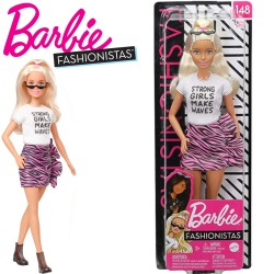 Barbie Fashionistas: Szőke hajú Barbie zebra mintás szoknyában FBR37