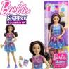 Barbie: Barna hosszú hajú bébiszitter csillagos ruhában  FHY89
