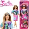 Barbie Fashionista barátnők: Világosbarna hajú Barbie batikolt ruhában cipzáras tartóban FBR37