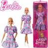 Barbie Fashionista barátnők: Kopasz Barbie virágos ruhában cipzáras tartóban FBR37