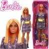 Barbie Fashionista barátnők: Rézvörös hajú molett Barbie kockás ruhában cipzáras tartóban FBR37